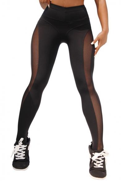 Womens Stylish Sheer Mesh Panel Sport Training Yoga Leggings Pants for Women
