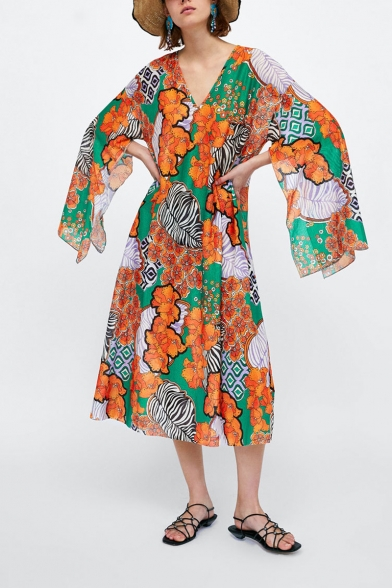 Womens Summer V-Neck Split Sleeve Floral Print Loose Shift Maxi Dress