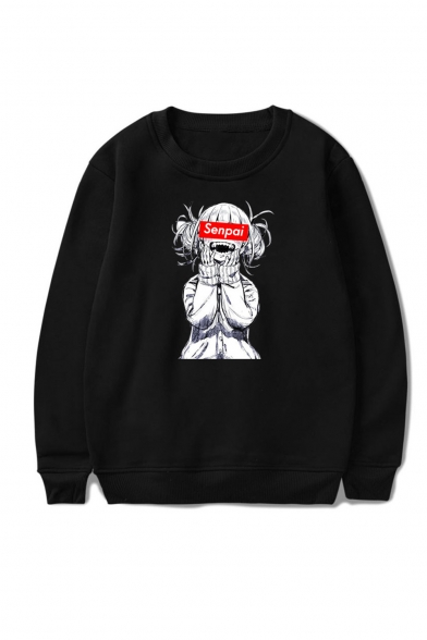 3D SENPAI Letter Comic Ahegao Figure Printed Round Neck Long Sleeve Unisex Casual Loose Sweatshirts