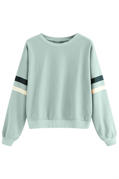 Basic Simple Stripe Print Round Neck Long Sleeve Pullover Sweatshirt