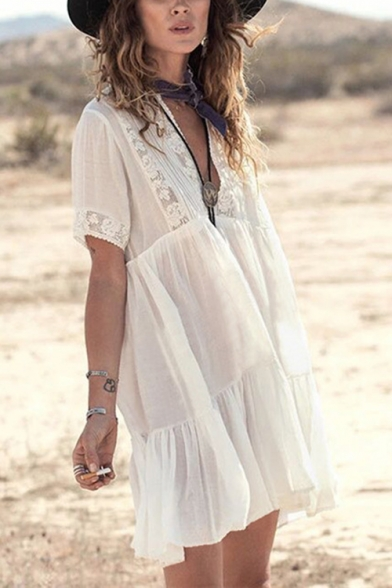 Beach Style V-Neck Short Sleeve Floral Printed Beach Cover Up White Mini Swing Dress