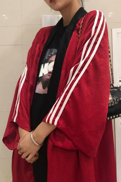 Chic Street Style Stripes Panel Loose Cuffs Longline Open Front Trench Coat