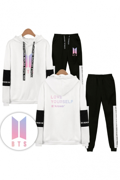 Cool Autumn Winter BTS Idol Theme LOVE YOURSELF Letters Print Patterns Long Sleeve Hoodie with SweatPants Co-ords