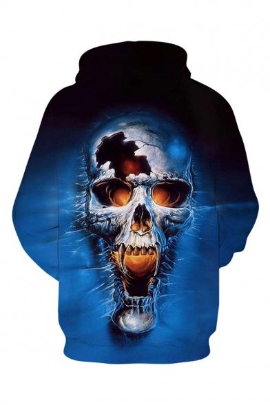 Cool Fashion Blue Skull 3D Printed Drawstring Hooded Long Sleeve Casual Loose Pullover Hoodie