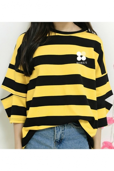 Fashion Kpop Simple Letter Logo WINGS Print Cutout Sleeve Loose Leisure Striped T-Shirt