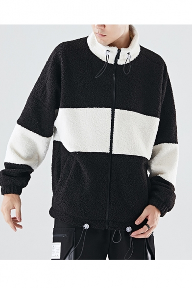 Guys Winter New Stylish Simple Colorblock Print High Neck Long Sleeve Loose Fleece Coat