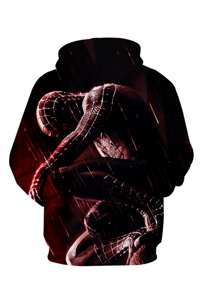 Hot Fashion Red 3D Printed Drawstring Hooded Long Sleeve Casual Pullover Hoodie