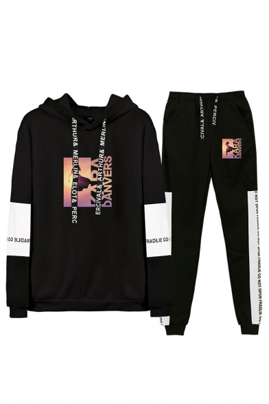 Hot Popular Figure Printed Letter Drawstring Hoodie with Loose Sweatpants Two-Piece Set, Black;dark navy;gray;black-white, LC555972