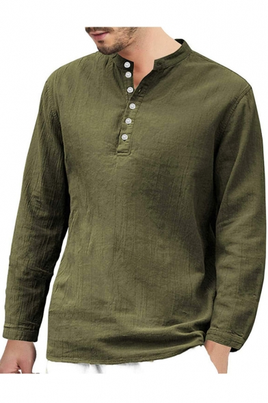 Hot Men/'s Shirt Tops Cardigan Casual Long Sleeve Button Lapel Loose Cotton Linen
