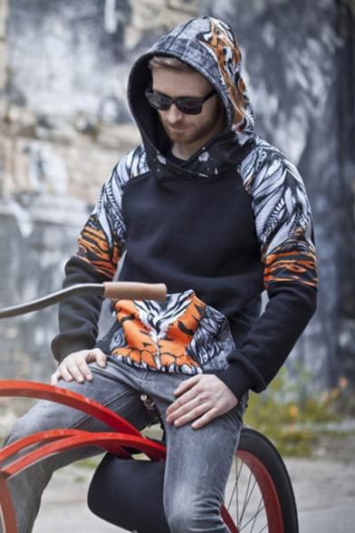 Hot Trendy Black Tiger Printed Long Sleeve Casual Loose Warming Hoodie with Pocket