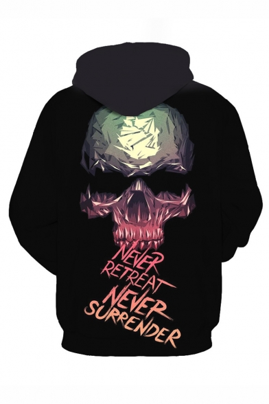 Letter NEVER RETREAT NEVER SURRENDER Cool Skull 3D Printed Long Sleeve Black Casual Loose Hoodie