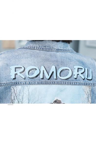 Loose ROMORU Letter Print Button Closure Denim Jeans Pocket Coat Outwear