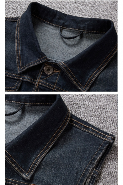 Men's New Trendy Plain Button Closure Sleeveless Plus Size Denim Vest Jacket