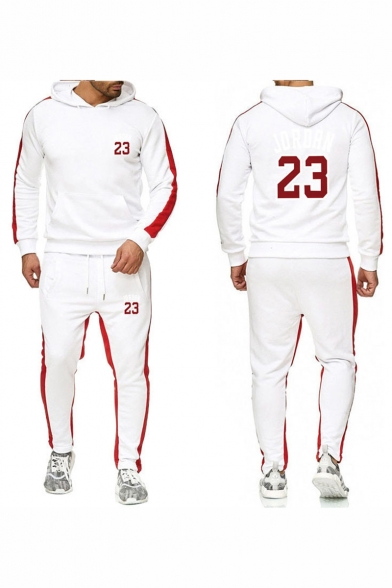 Mens Hot Fashion Letter 23 Printed Colorblock Patched Side Long Sleeve Pullover Hoodie Drawstring Waist Fitness Sweatpants Casual Sports Two Piece Set