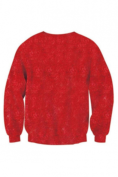 New Fashion Christmas Theme Gold Chain Muscle 3D Printed Round Neck Long Sleeve Red Casual Sweatshirt