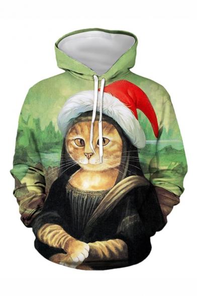 New Fashion Funny Mona Lisa Cat 3D Printed Long Sleeve Green Loose Fit Drawstring Hoodie