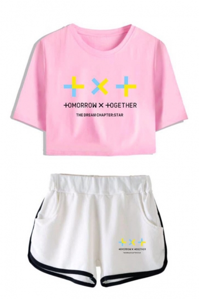 New Popular TXT Letter Printed Short Sleeve Crop Tee with Casual Dolphin Shorts Two-Piece Set, LM551412, Color 1;color 2;color 3;color 4;color 5;color 6;color 7;color 8