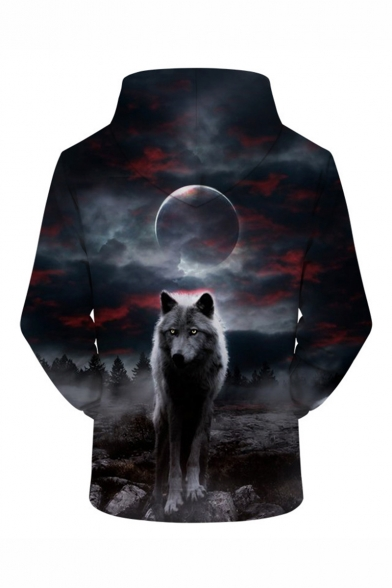 New Stylish Cool Wolf Moon 3D Printed Long Sleeve Loose Fit Grey Drawstring Hoodie