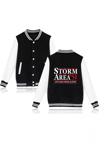 New Trendy Storm Area Letter Printed Rib Stand Collar Long Sleeve Button Down Baseball Jacket