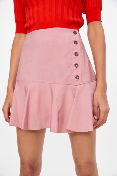Pink High Waist Button Down Ruffle Hem Casual Loose Sweet Cute Mini Skirt