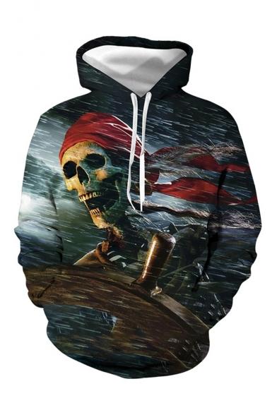 Popular Pirate Skull 3D Printed Dark Grey Drawstring Hooded Long Sleeve Casual Loose Hoodie with Pocket