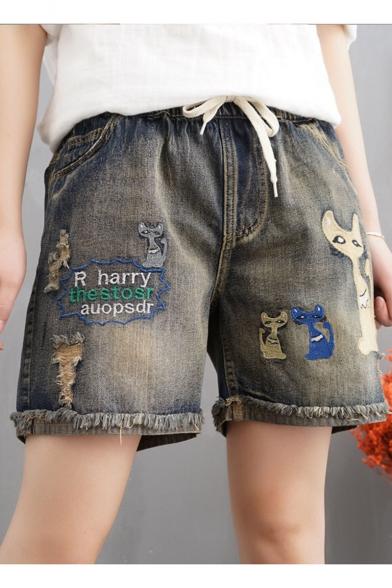 Р Гарри THESTOSR AUOPSDR письмо Cat украшенные подвернутые манжеты необработанный низ кулиской на талии мыть джинсовые шорты бермуды