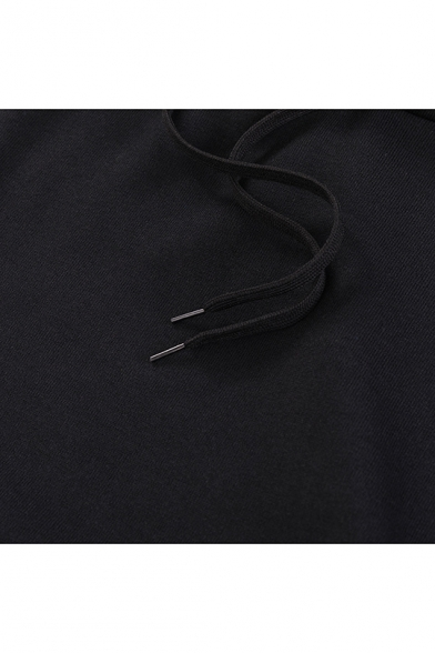 Simple Letter Moon Embroidered Long Sleeves Pullover Drawstring Hoodie