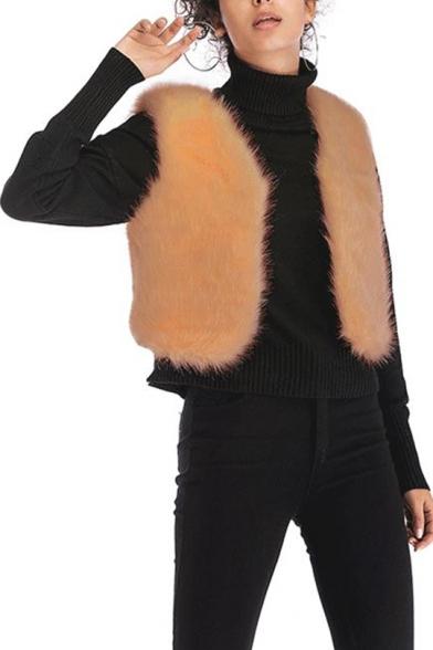 Solid Color Design V-Neck Open Front Short Shearling Vest Coat for Women