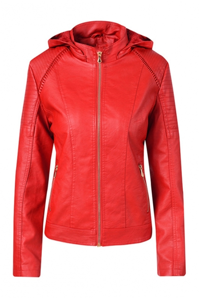 Stylish Plain High Neck Long Sleeve Detachable Hood Zip Front PU Hooded Short Jacket