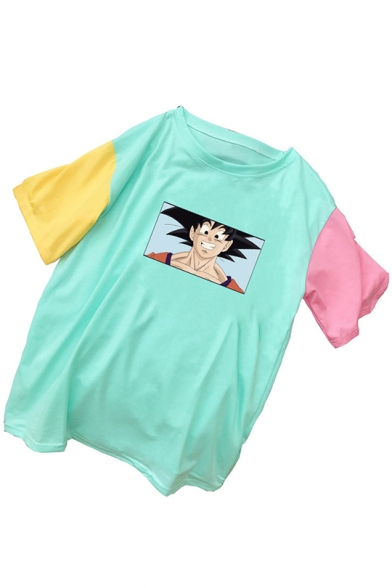 Summer New Stylish Patch Sleeve Round Neck Comic Character Printed Colorblock Loose T Shirt