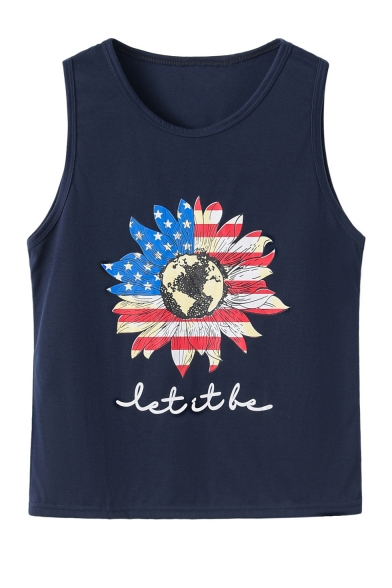 Summer Sleeveless Scoop Neck Letter Flag Floral Printed Fitted Tank Tee