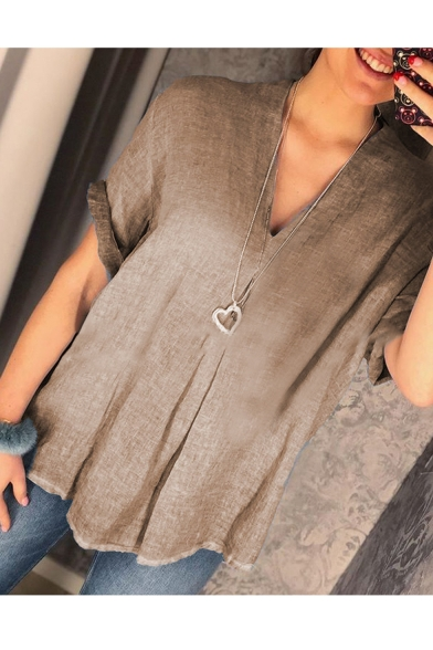 Summer Women's Chic Simple Solid Color V-Neck Short Sleeve Loose Blouse