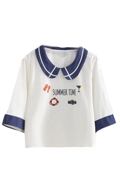 Trendy 3/4 Sleeve Round Sleeve SUMMER TIME Letter Slipper Glass Swim Ring Watch Printed Casual Loose T-Shirt