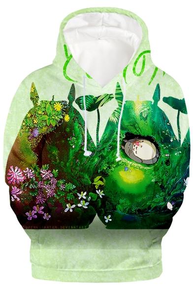 Trendy Green Totoro 3D Printed Long Sleeve Unisex Hoodie