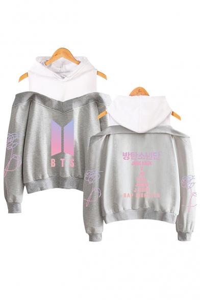 Trendy Kpop Logo Floral Letter Printed Cold Shoulder Long Sleeve Pullover Sweatshirt