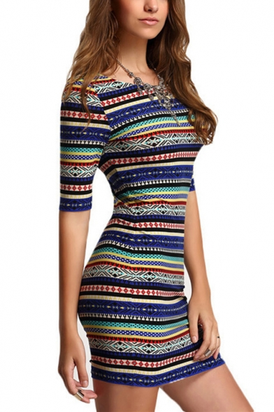 Womens Fashion Round Neck Half Sleeve Tribal Print Open Back Bodycon Mini Dress