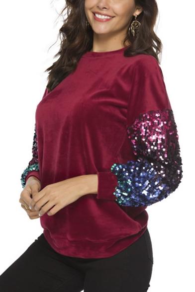 Womens New Stylish Crewneck Sequined Patched Long Sleeve Regular Fit Velvet Sweatshirt