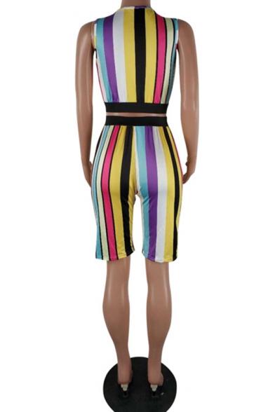 Womens Trendy Rainbow Stripe Printed Scoop Neck Crop Tank with Skinny Half Shorts Two-Piece Set