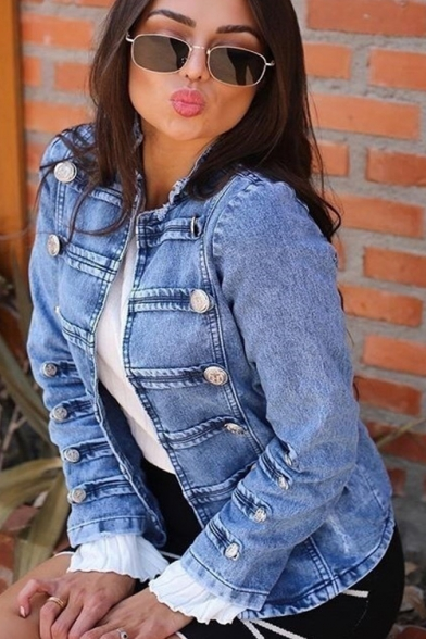 Womens Unique Light Blue Bleached Double-Breasted Denim Jacket