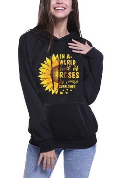 Black Long Sleeve Letter Sunflower Printed Cool Unique Hoodie with Pocket