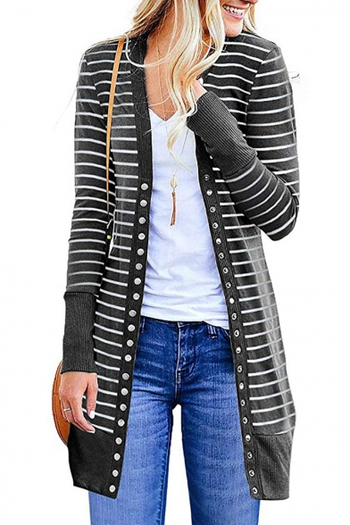Classic Stripes Contrast Panel Single Breasted Long Sleeve Longline Open Front Coat