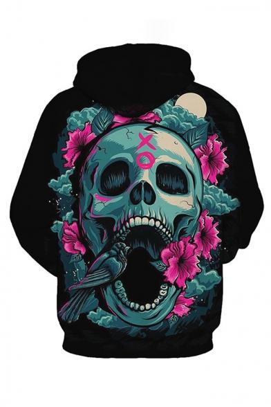 Cool Fashion Floral Skull 3D Printed Long Sleeve Black Loose Pullover Hoodie