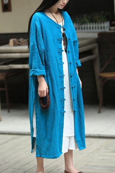 Female Vintage Chinese Style Plain Round Neck Retro Frog Button Front Split-Side Longline Linen Cardigan Coat