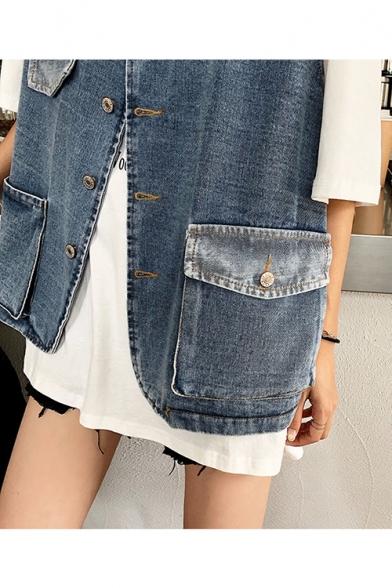 Girls Cool Street Style V-Neck Sleeveless Multi-Pocket Button Front Blue Denim Vest
