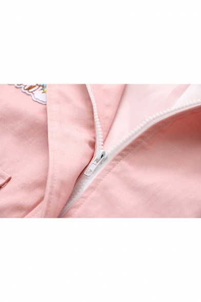 Girls Cute Rainbow Embroidery Flap Pocket Front Long Sleeve Hooded Coat