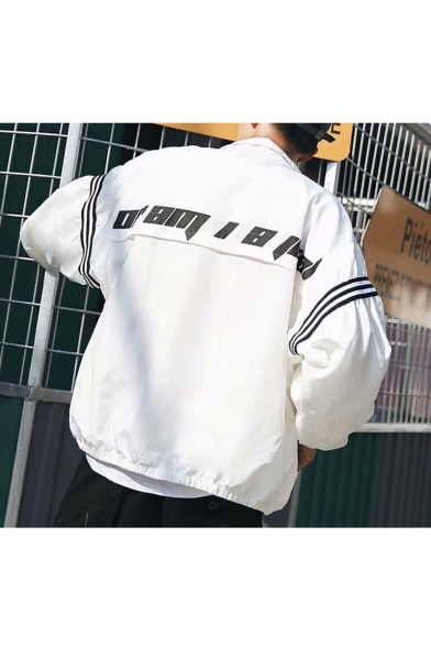 Guys Cool Street Letter Printed Stripes Long Sleeve Zip Up Loose Track Jacket