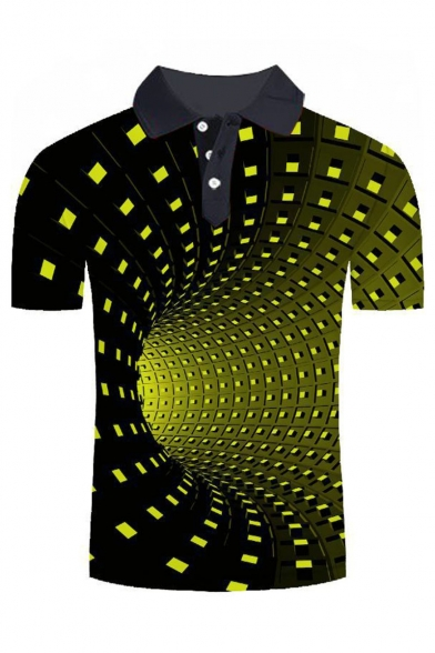Guys New Trendy Funny 3D Tunnel Pattern Short Sleeve Lapel Collar Polo Shirt