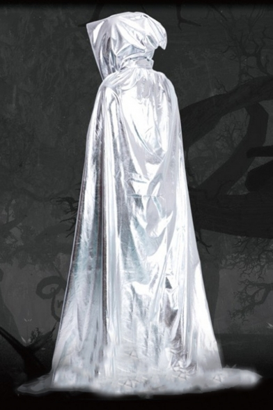 Halloween Series Solid Color Metallic Hooded Witch Cosplay Longline Poncho Cape