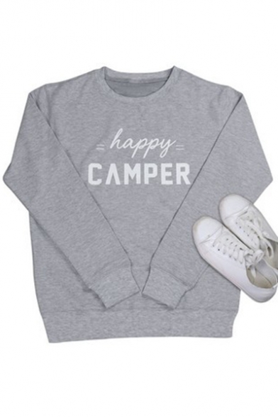 Happy CAMPER Letter Print Round Neck Long Sleeve Gray Sweatshirt