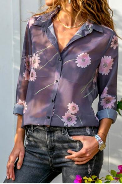 Hot Fashion Long Sleeve Lapel Collar Floral Print Button Down Chiffon Purple Shirt